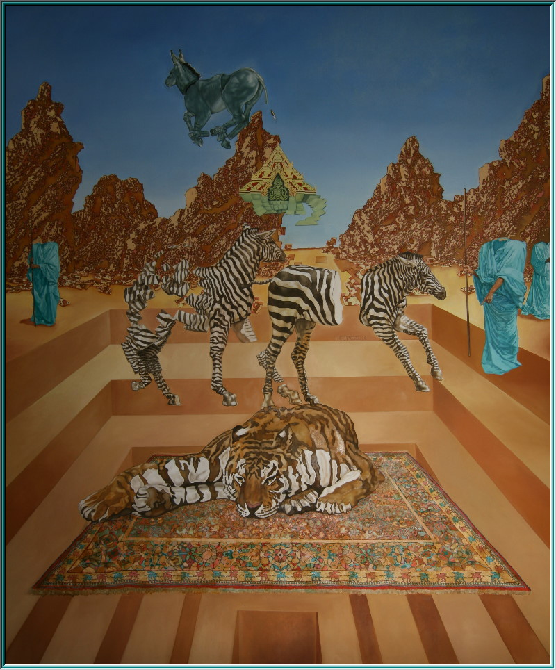 Tiger lying on a flying carpet, zebra, Bremen Town Musicians, M.C. Escher, Pan's Labyrinth, maze, Montserrat, oil painting