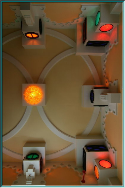 Modern Style, A vaulted ceiling, ceiling ornament, circle ornaments, stained glass and oriental designs, Moorish style, architecture, roof profiles