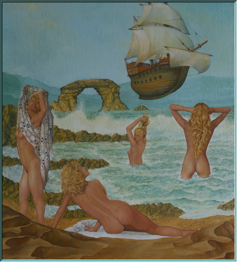 Asia, ghost ship, mermaids, naked women on the beach, erotic, the Flying Dutchman, oil paintings, magical realism