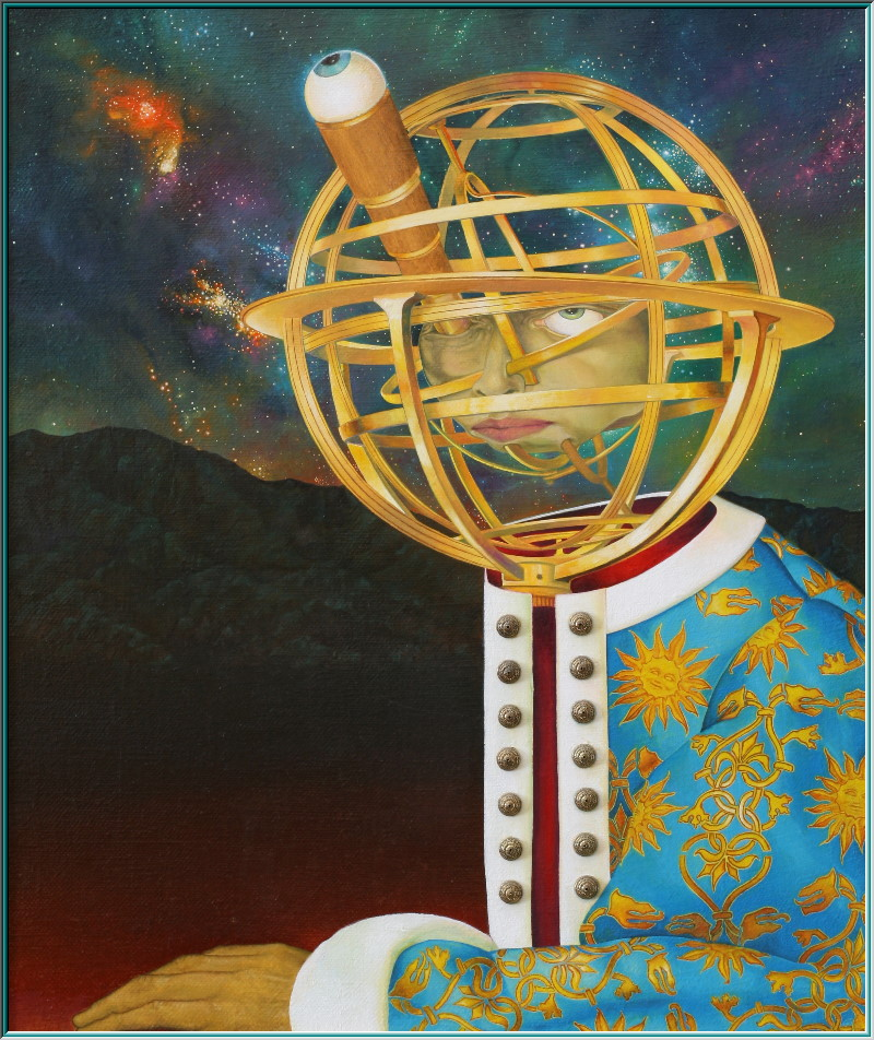 Astronomer, telescope, observatory, sundial, constellations, oil painting surrealism