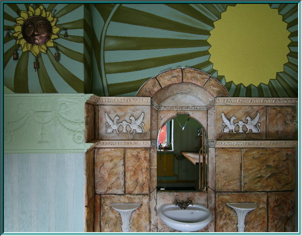 Lincrusta Fries, cast stone, stucco decorations, marble sink