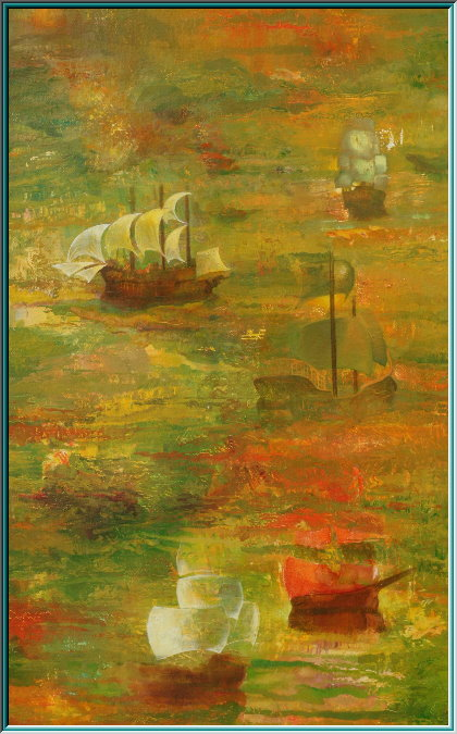 Four-masted, fantastic realism, conquerors, invaders, oil painting,