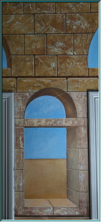 Wall fresco ceiling design, restaurant, hotel spa, exhibition fair, architecture temples, columns,