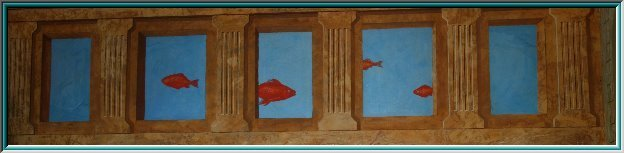 Fresco painting, illusion painting, sgraffito, Exhibition Fair, columns, ceiling painting, optical illusion, space art,