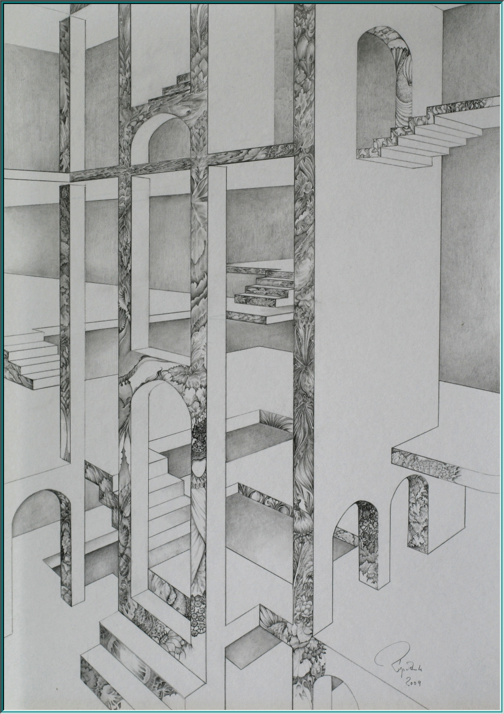 M.C.Escher, palace, theater, drawing, pencil drawing, Baron von Munchausen, Mexican jumping beans, Radiometer