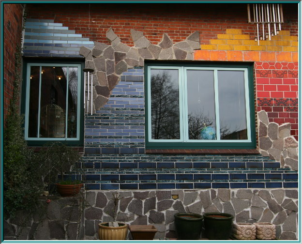 Facade design, ceramics, puzzles, mosaic inlay