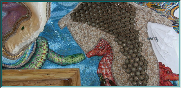 Mermaid mosaic, mermaid, mythical creatures, mermaids, sirens, water, men, natural stone mosaics