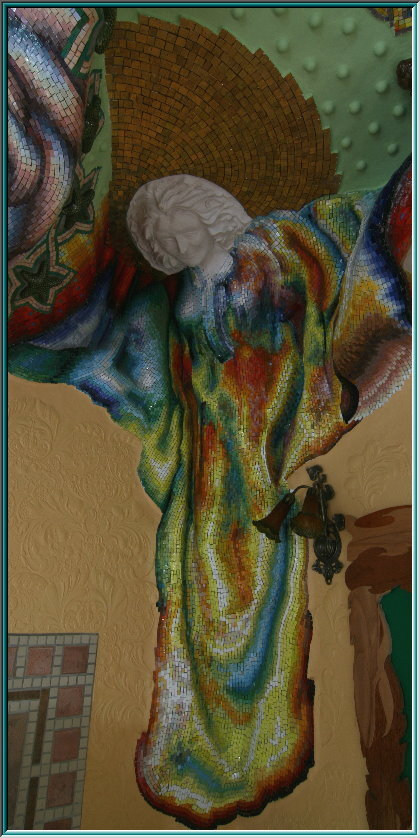 mosaic angel, ceiling plaster, stucco, stucco ceilings, stucco facade, plaster molded, wall sculpture, messenger of heaven
