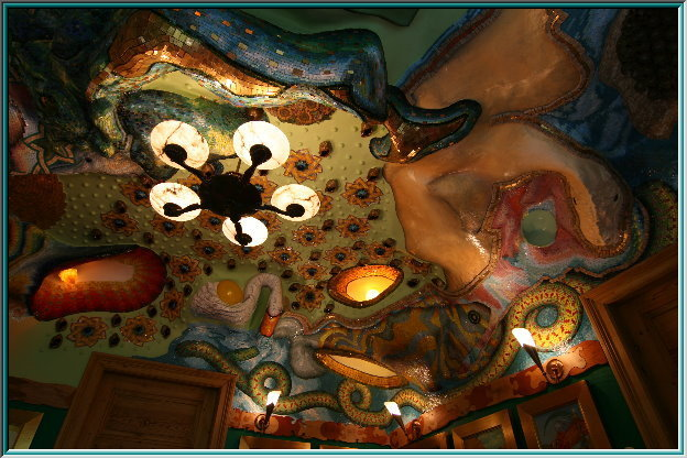 cover mosaic illuminated, mosaic puzzle, Cave with Mosaic disguised depositors, Nouveau lamps, pearl inlay, smalti Veneziani, enamel, sculpture