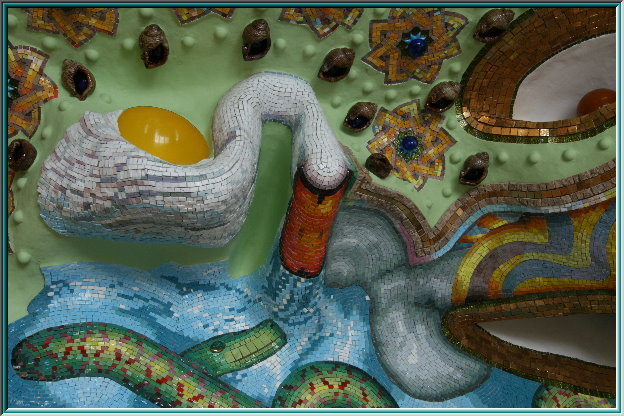 mosaic of a swan, mosaic grout, mosaic puzzle, mother of pearl inlays, smalti Veneziani enamel, inlay, sculpture
