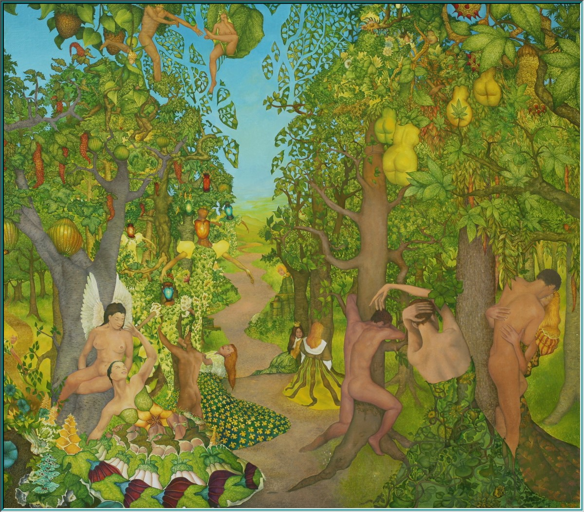 Adam and Eve, the Garden of Eden, eroticism, Expulsion from Paradise,Festival of Lights, plant kingdom, magic garden, oil painting surrealism