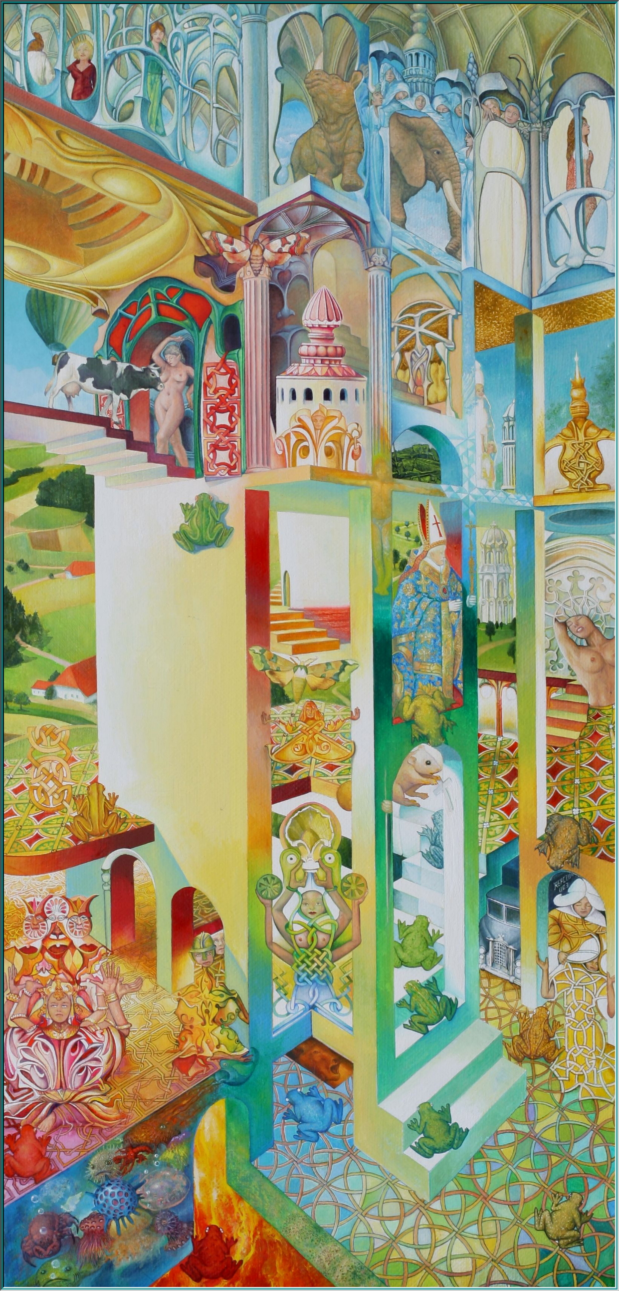 Ziggurat, Ishtar Gate, Babylon, the palace of the sky, the Tower of Babylon, Gilgamesh, flood, oil paintings Surrealism