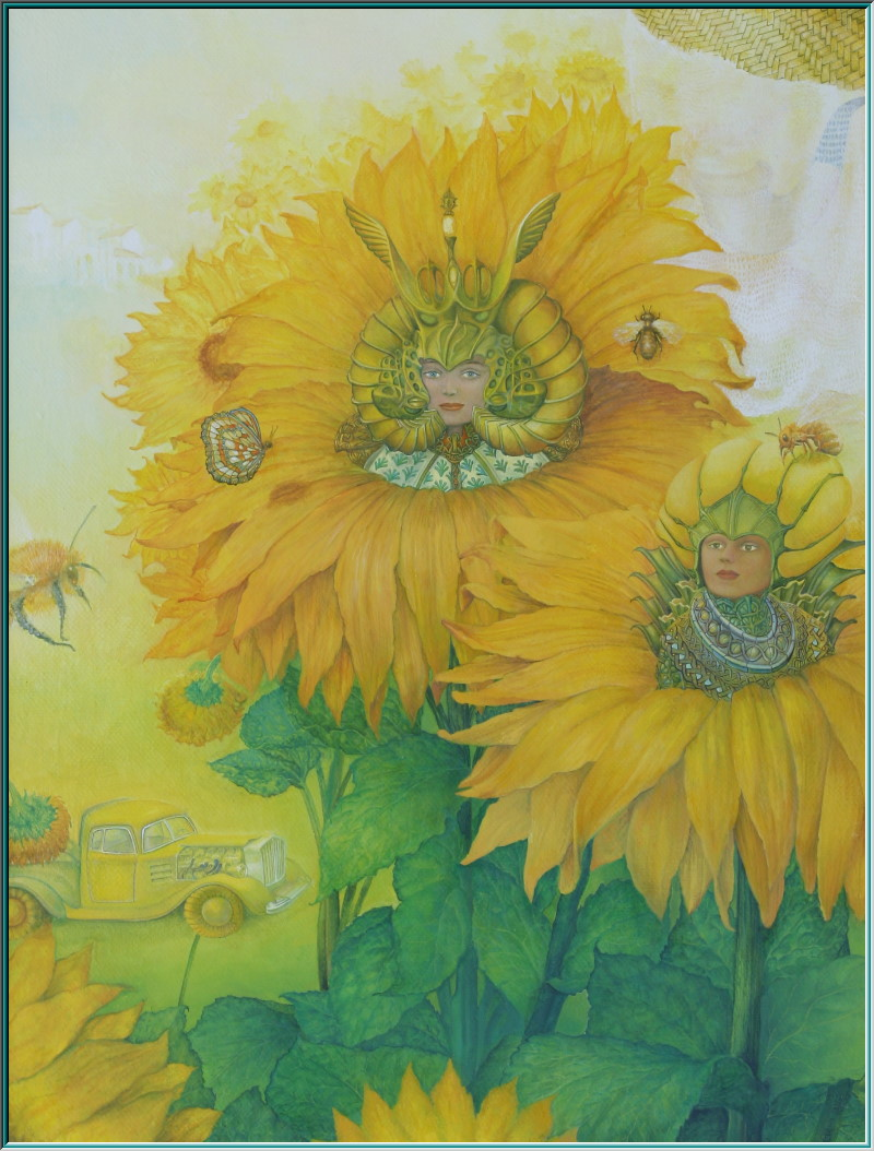 Oldtimer in the sunflower field, beekeepers, Art Nouveau, still lifes, sunflower field, flowers, fantastic realism paintings