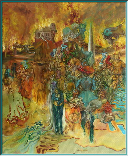 Incendiary bombs, flames inferno, fire storm, fire, phosphorus bombs, fire, hurricane, bombing, napalm, Sodom and Gomorrah, oil painting