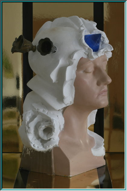 Plaster sculpture, comedy, mask, flower arrangement, hair jewelry, Lyra, pantomime, Muse