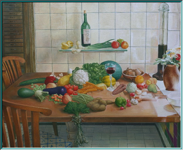 gala dinners, Dinner for one, banquet, buffet, holiday feast, fennel, vegetables, borecole, still life, oil painting realism,