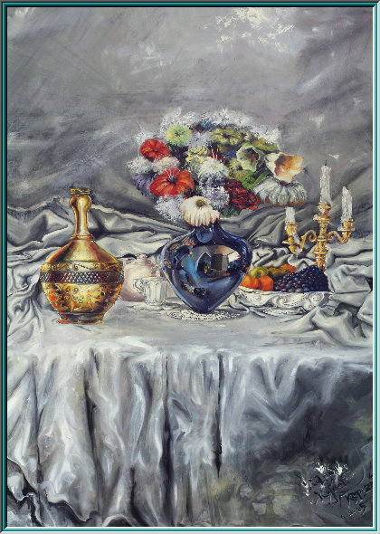 amphora, Alabastron, hydria, water vessel, still life, oil painting, vase