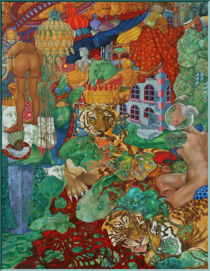 Siberian tigers, Cyborg, Android, the labyrinth of Knossos, elephants Rays, Tutankhamun, Nefertiti, Karnak, Golden City, oil painting surrealism