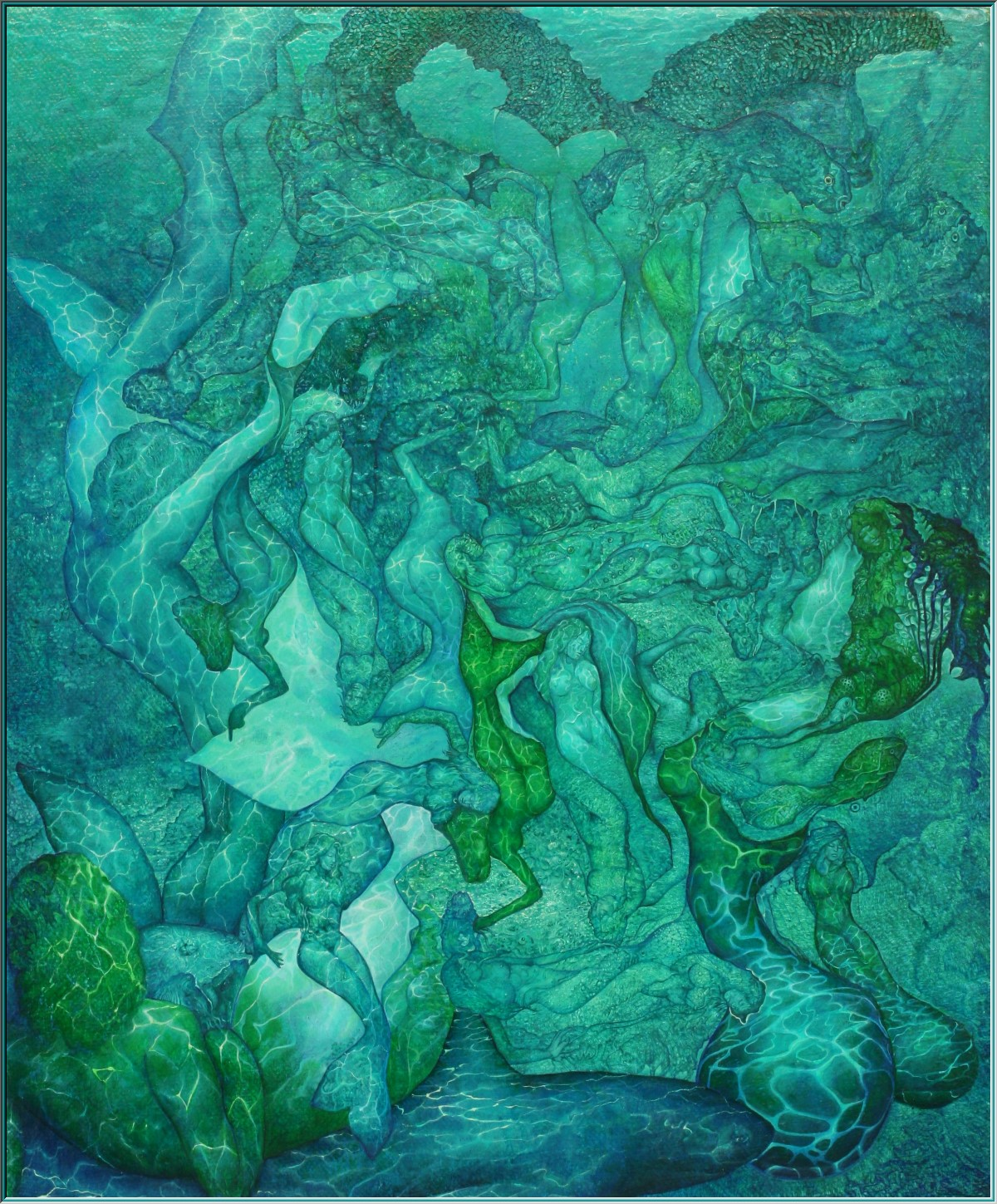 nude mermaids, fishwife, mermaids, merman, Nix, water-god, river man, oil painting,